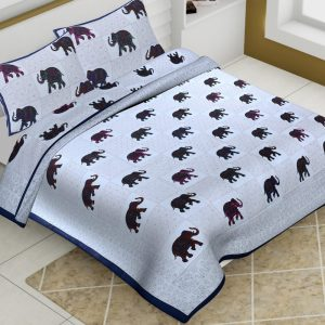 Cotton King Size Elephant Print Animal Pattern Barmeri Bedsheet With Two Pillow Covers - JBBB75
