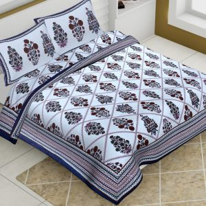 White Base Cotton King Size Boota Print Floral Pattern Barmeri Bedsheet With Two Pillow Covers - JBBB74