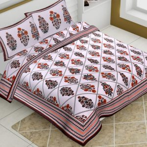 White Base Cotton King Size Boota Print Floral Pattern Barmeri Bedsheet With Two Pillow Covers - JBBB73