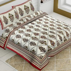 Off White Cotton King Size Boota Print Floral Pattern Barmeri Bedsheet With Two Pillow Covers - JBBB72