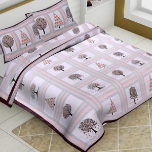 White Base Cotton King Size Tree Prinr Barmeri Bedsheet With Two Pillow Covers - JBBB70