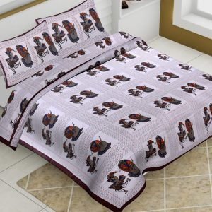 Cotton Dhola Maru Print Barmeri Bedsheet With Two Pillow Covers - JBBB68