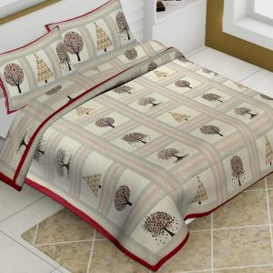 Off White Cotton King Tree Print Barmeri Bedsheet With Two Pillow Covers - JBBB67