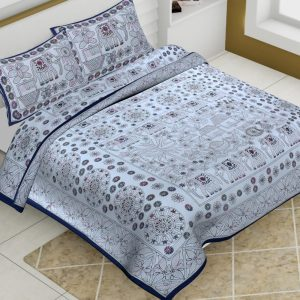 Cotton King Size Multi Pattern Barmeri Bedsheet With Two Pillow Covers - JBBB66