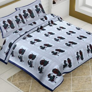 White Base Cotton King Size Dhola Maru print Barmeri Bedsheet With Two Pillow Covers - JBBB65