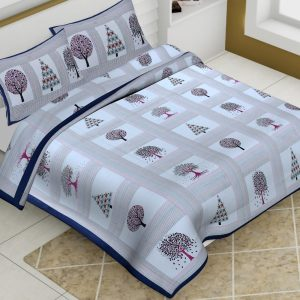 Multi Color Cotton King Size Tree Print Barmeri Bedsheet With Two Pillow Covers - JBBB64