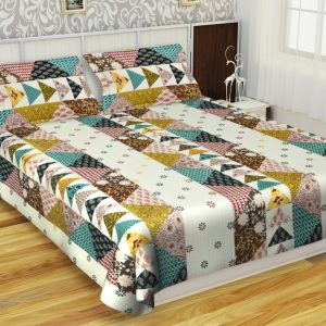 Cotton King Size Bedsheet With 2 Pillow Covers